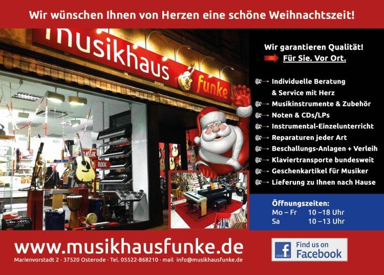 Musikhaus Funke - Wir wünschen Ihnen von Herzen eine frohe Weihnachtszeit!