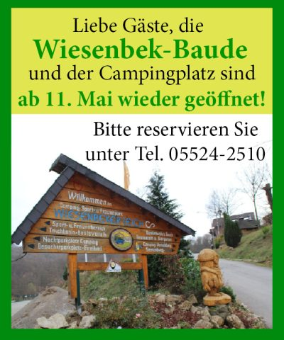 Wiesenbek Baude ab 11. Mai wieder geöffnet!