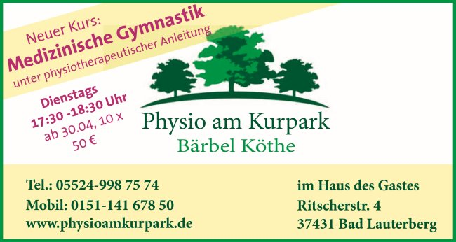 Physio am Kurpark - Medizinische Gymnastik: Kurs ab 30.04.