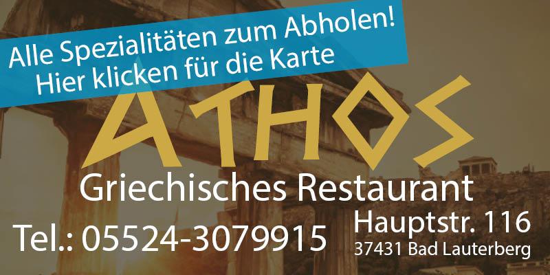 Griechisches Restaurant Athos - Ausser-Haus-Karte