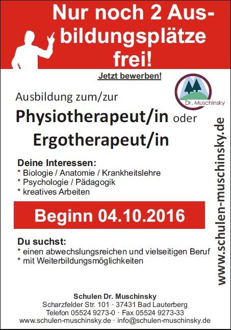 Ausbildung zum/zur Physiotherapeut/in oder Ergotherapeut/in - Schulen Dr. Muschinsky