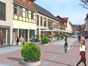 Das neue Gebäude soll sich einerseits an den Stil des Rudolphi-Haupthauses (ganz links) anlehnen, andererseits aber auch in die bestehende Häuserfront einpassen.