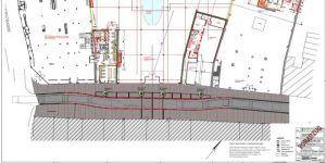 Übersicht: Das neue Gebäude (Mitte) wird leicht t-förmig. Es umschließt die Gebäude Hauptstraße 119  und 125 und schließt im Plan oben links an das Rudolphi-Haupthaus an, rechts an E+R. Die Hauptstraße bekommt einen leichten Schlenker (rot).