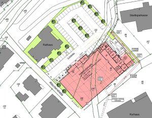 Ein erster Plan: Für die Parkplätze zum Kleinen Kurpark (auf diesem Plan oben) würde ein weiteres Stück Grünfläche verschwinden. Bekäme der Markt jedoch ein Gründach, würde die als versiegelt geltende Fläche am Ende sogar kleiner als bisher.