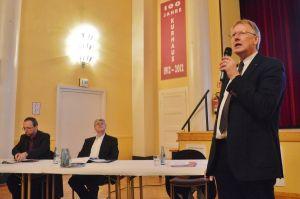 Christoph Wagner, allg. Vertreter des Bürgermeisters von Walkenried, und Uwe Weick, allg. Vertreter des Bürgermeisters von Bad Sachsa, Bad Lauterbergs Bürgermeister Dr. Thomas Gans (von links)