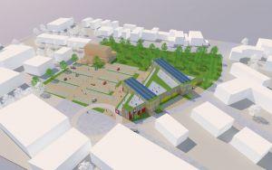 Der GSP-Entwurf: das hellbraune Gebäude ist das jetzige Rathaus (Visualisierung: GSP)