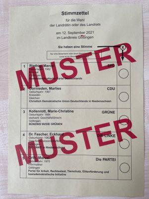 Musterstimmzettel für die Landratswahl