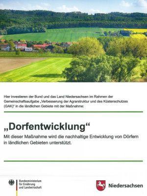 """Ab der kommenden Woche wird das Schild mit dem Hinweis """"Dorfentwicklung. Hier investieren der Bund und das Land"""" vor der alten Wistoba in Barbis hängen."""
