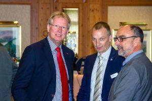 Im Gespräch: Bürgermeister Dr. Thomas Gans,  Pressesprecher Jens Wagener und Bezirkschornsteinfeger Gerold Hoffmann im Gespräch