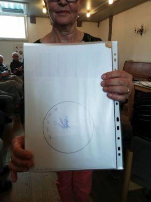 Die Referentin zeigt eine Uhr, die von einer an Demenz erkrankten Frau gemalt wurde