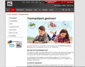 Der Radiosender ffn verschenkt wieder mit der Stiftung Sparda-Bank Hannover einen Traumspielpark im Wert von 150.000 Euro (Screenshot der Homepage von radio ffn)