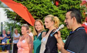 Isa Sandiraz überbrachte Grüße des Landkreises – daneben (von rechts) Denise Horn, Katharina Euteneier und Janka Eckhardt von Kinderschutzbund beziehungsweise Johannitern.