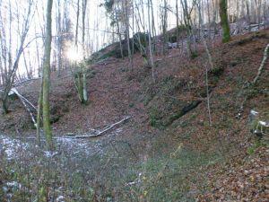 32a Reste des Klingentaler Richtschachtes am Hang