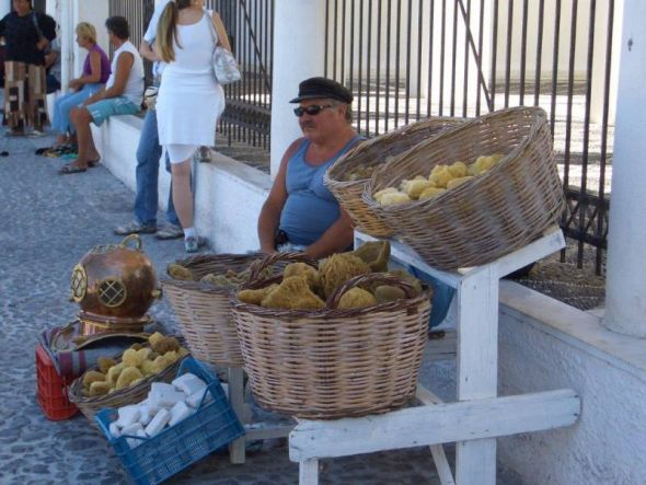 Schwammtaucher auf Santorini