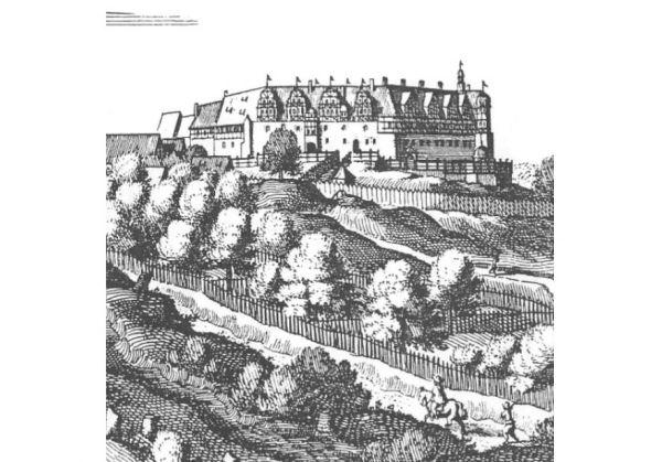 Das Schloss Herzberg auf einem historischen Merianstich.