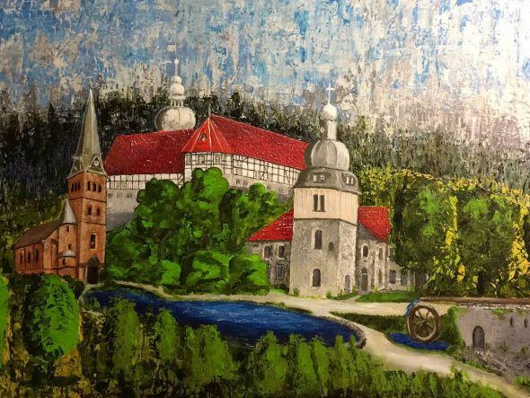 Die Grundlagen der Malerei hat sich Regina Krellmann zunächst autodidaktisch erarbeitet. Auf diesem Bild sind das Herzberger Welfenschloss, die evangelische Nicolaikirche und die katholische Kirche St. Josef zu sehen. (Fotos: Regina Krellmann)