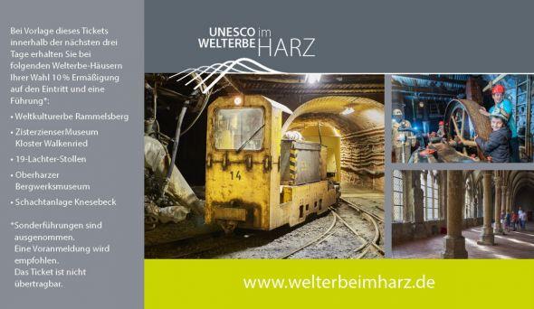 Eine neu gestaltete Rückseite auf den Tickets der teilnehmenden Häuser macht auf die Rabattaktion aufmerksam (Foto: Stiftung UNESCO-Welterbe im Harz)