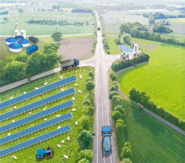 Visualisierung einer Wasserstoffwirtschaft im ländlichen Südniedersachsen. Grafik: SüdniedersachsenStiftung