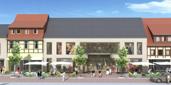 So soll es aussehen: Die Häuserfront der Hauptstraße mit dem neuen Geschäftshaus. Das Gebäude soll allerdings ein rotes Dach bekommen, so wie es auch das Rudolphi-Haupthaus (ganz links) in Wirklichkeit hat.