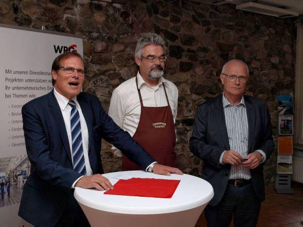 Begrüßung: Göttingens Landrat Bernhard Reuter (SPD), WRG-Geschäftsführer Detlev Barth und Mekom-Vorstandsvorsitzender Dr. Rainer Beyer.