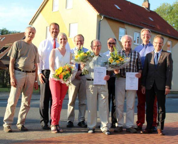 Von links: K.-H. Bleß, I. Fiedler, J. Pfeng, H. Kleine Arndt, H. Kreter, G. Hoffmann, E. Apel, T. Gans, F. Uhlenhaut