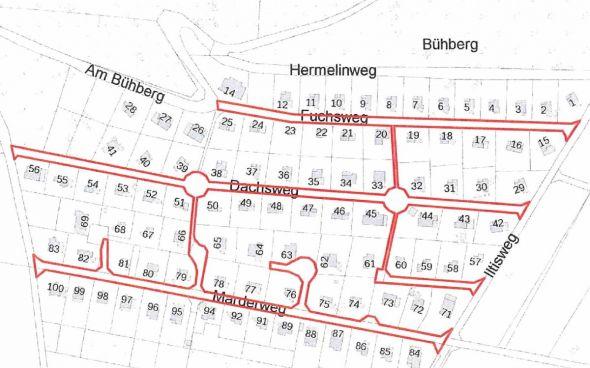 Schnäppchen für Rechtssicherheit oder eine lauernde Kostenfalle? Die rot markierten Straßen und Wege auf dem Bühberg möchte das Land für einen Euro an die Stadt verkaufen.