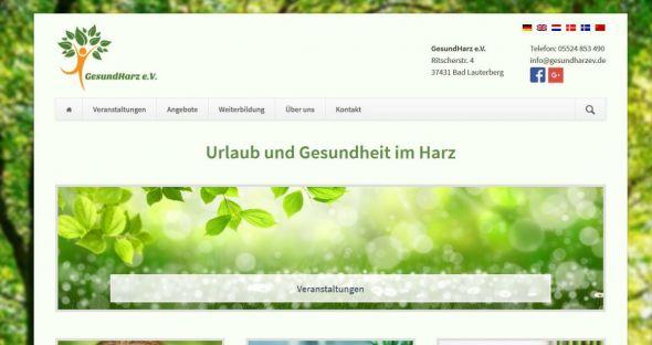 Screenshot der Website des Gesundharz e.V.