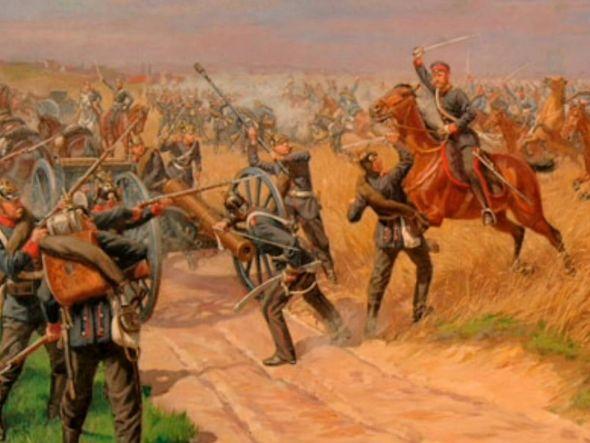 Attacke der 4. Eskadron Cambridge-Dragoner auf zwei preußische Geschütze in der Schlacht bei Langensalza am 27. Juni 1866, Ölgemälde von Georg von Boddien, Sammlung Stadtmuseum Bad Langensalza. (Foto: H. Jadke)
