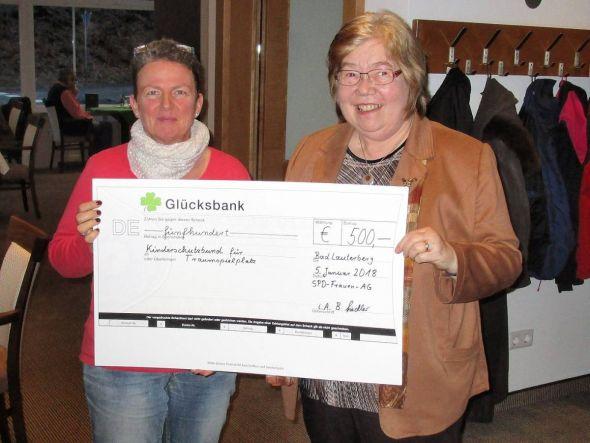 Barbara Fiedler (rechts) übergibt den symbolischen Scheck an die Vorsitzende des Kinderschutzbundes Bad Lauterberg Janka Eckhardt.