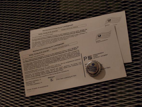 In Bad Lauterberg wurden nicht alle Wahlbenachrichtigungen zum Bürgerentscheid zur Kreisfusion (Abbildung ähnlich) zugestellt. Carsten W. hat seine bekommen – was ihn jetzt 1.200 Euro kostet.