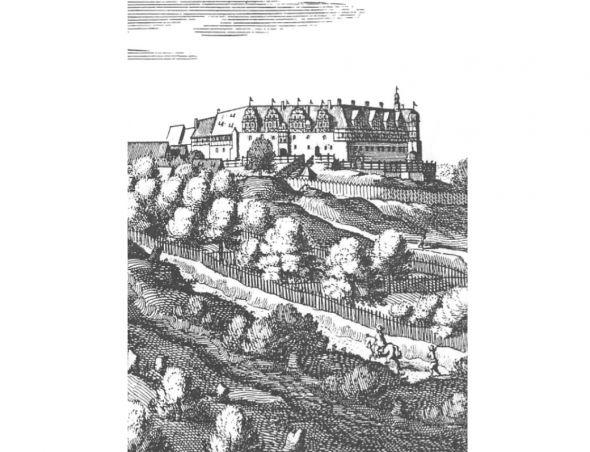 Das Schloss Herzberg auf einem Merianstich. Auf ihm sind noch Dachgauben zu sehen, die heute nicht mehr vorhanden sind.
