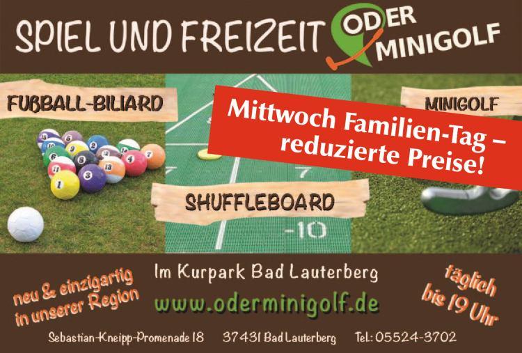 Oderminigolf  - Mittwoch Familien-Tag - reduzierte Preise!